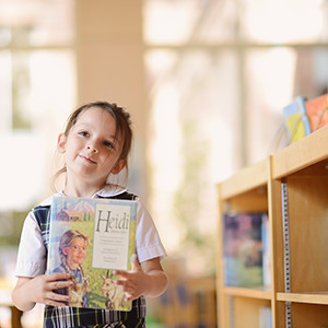 elementary school student in library
