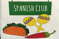 Spanish club graphic with tacos, maracas, and chile pepper