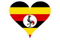 Uganda flag inside a heart graphic